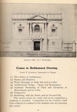Page from 1897-98 PMSIA catalog showing Course in Architectural Drawing